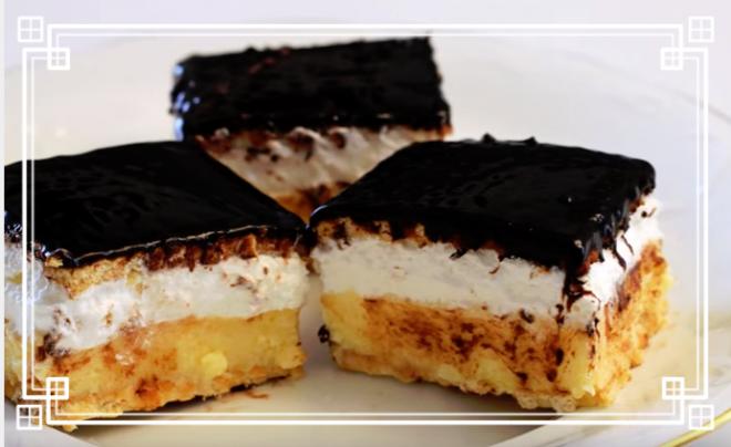 Sütés nélkül készül ez az isteni finom vaníliás-habos kekszes szelet