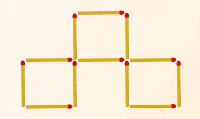 Mozdíts el 3 gyufát, hogy 4 négyzetet kapj!