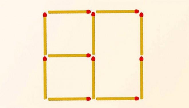Mozdíts el 3 gyufát, hogy 2 négyzetet kapj!