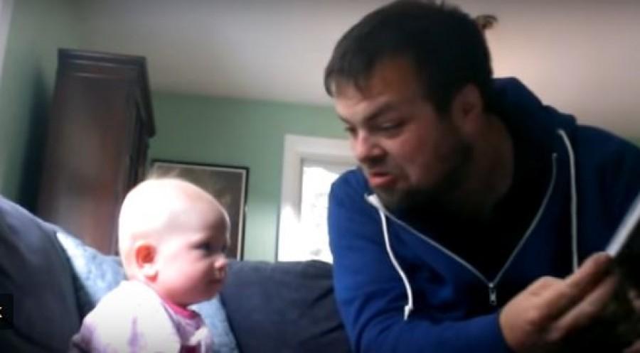 Ilyen az, amikor a kisbabát a nagybácsira bízzák. Szerencse, hogy egy videó is készült!